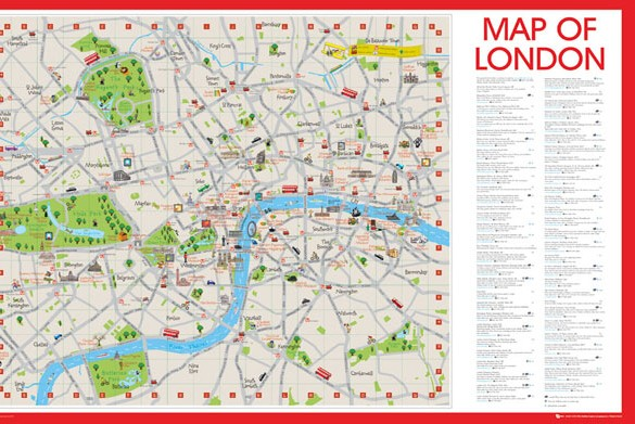 LONDON CENTRAL MAP WITH ATTRACTIONS Athena Posters