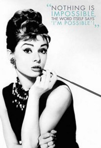 ER7077 AUDREY HEPBURN NOTHING IMPOSSIBLE