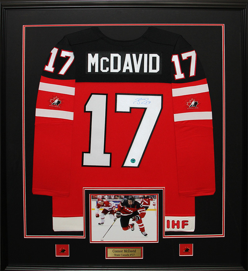 Connor McDavid Team Canada Juniors signed jersey frame - Athena Posters