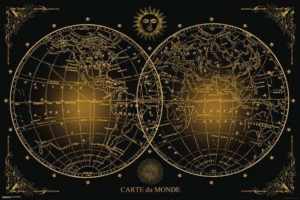 ER7108  WORLD MAP CARTE DU MONDE BLACK