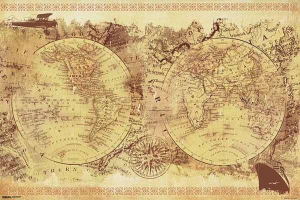 Vintage world map poster 24 x 36 hobby lobby 1058841 dinosauriensfo this site contains all about vintage world map poster 24 x 36 hobby lobby 1058841 gumiabroncs Image collections