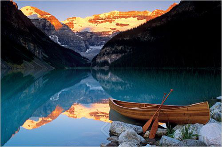 Canoe On Lake Louise Athena Posters