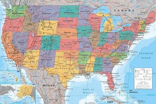 World Map USA - Athena Posters