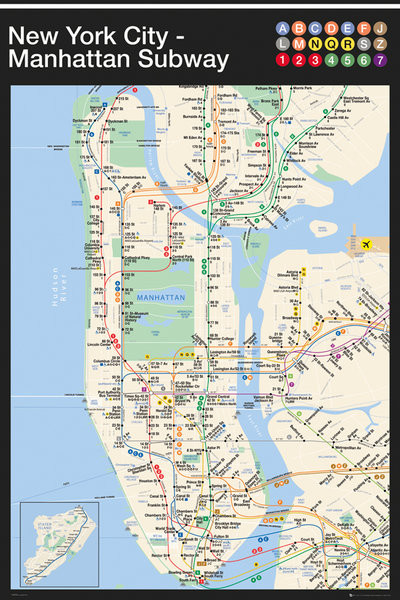 Ny 2017 Subway Map.Ny Subway Map Manhattan