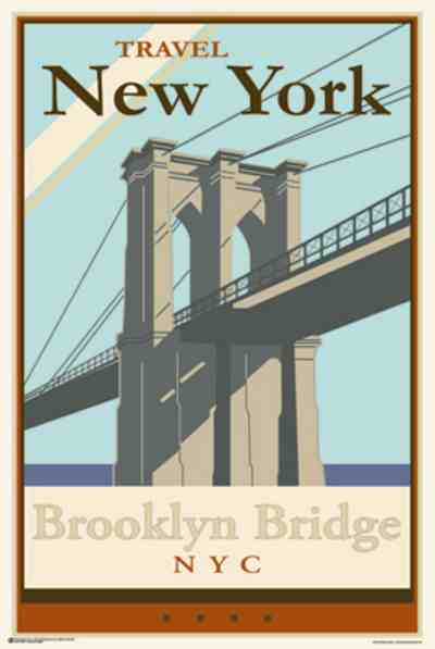 vintage new york brooklyn bridge athena posters. Black Bedroom Furniture Sets. Home Design Ideas