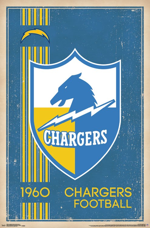 Los Angeles Chargers Retro Logo 17 Athena Posters