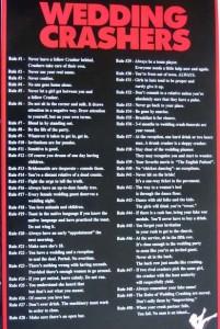 Wedding Crashers Commandments