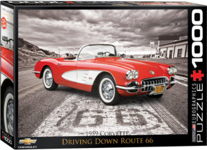 6000-0665-1959 Corvette Driving Down Route 66- Item# 6000-0665 - Puzzle size 19.25x26.675 in