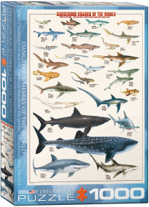 6000-0264-Dangerous Sharks- Item# 6000-0264 - Puzzle size 19.25x26.5 in