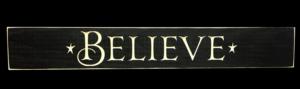 WS9004BL-Believe – 2′ Wooden Sign – Black