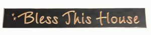 WS9005BL-Bless This House – 2′ Wooden Sign – Black