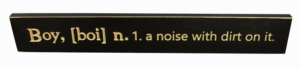 WS9052BL-Boy, n, a noise with dirt on it – 2′ Sign – Black