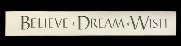 WS9084CR-Believe Dream Wish – 2′ Wooden Sign – Cream