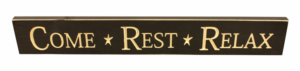 WS9097BL-Come Rest Relax – 2′ Sign – Black
