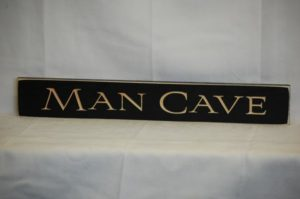 WS9152BL-Man Cave – 2′ Wooden Sign – Black