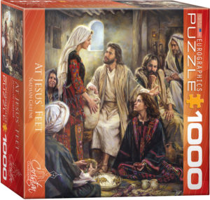 8000-0343-At Jesus' Feet - Item# 8000-0343 - Puzzle size 19.25x26.675 in