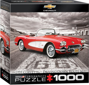 8000-0665-1959 Corvette Driving Down Route 66- Item# 8000-0665 - Puzzle size 19.25x26.675 in
