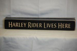 WS9153BL-Harley Rider Lives Here – 2′ Sign – Black