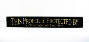WS9187BL-Chocolate Lab Security – 2′ Sign – Black