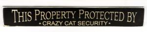 WS9191BL-Crazy Cat Security – 2′ Sign – Black