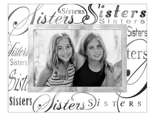 Sisters - 4x6 Glass Photo Frame With Silver Writing - Athena Posters