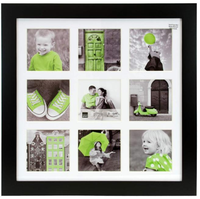 Langford 14x14 Wood Collage Frame, Black With White Mat (9 4x4 ...