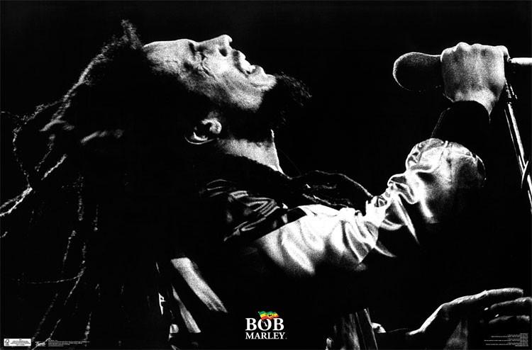 PW51998 Bob Marley Black And White At Mic