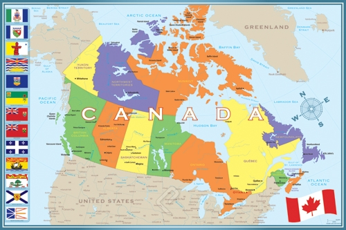 Map Of CanadaModern Athena Posters - World map canada